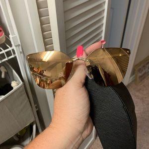 Prada catwalk sunglasses gold brown with case